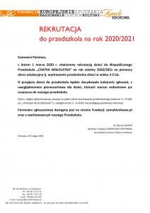 PRZEDSZKOLE_informacja o rekrutacji_2020-1